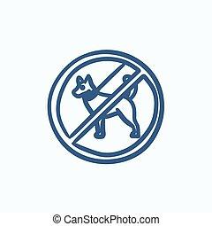No dog sign sketch icon - No dog sign vector sketch icon...