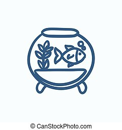 Fish in aquarium sketch icon. - Fish in aquarium vector...