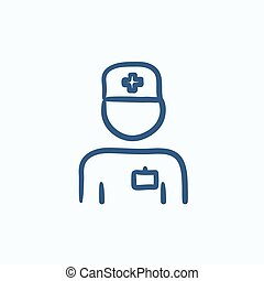 Nurse sketch icon - Nurse vector sketch icon isolated on...
