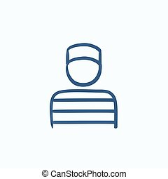 Prisoner sketch icon - Prisoner vector sketch icon isolated...
