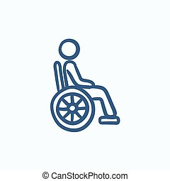 Disabled person sketch icon - Disabled person vector sketch...