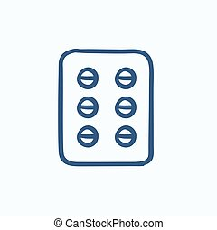 Plate of pills sketch icon. - Plate of pills vector sketch...