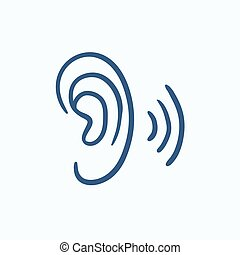 Human ear sketch icon - Human ear vector sketch icon...