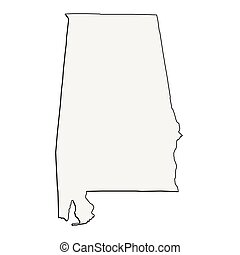 Alabama (USA) detailed outline map with shadow