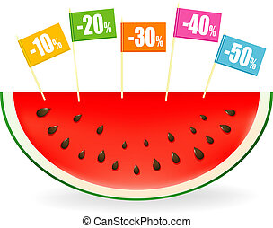 Summer sales - Vector illustration of a slice of watermelon...