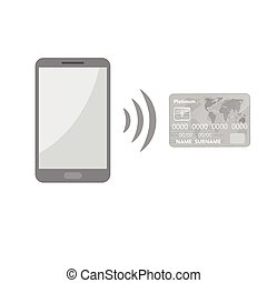 Mobile payments background - Abstract gray mobile phone with...