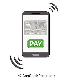 Mobile payments symbol - Mobile phone silhouette with credit...