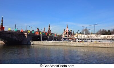 Moscow Kremlin and Saint Basil's cathedral zoom in 4K video...