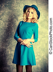 womanly style - Fashion portrait of a beautiful blonde girl...