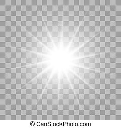 White glowing light burst on transparent background - White...