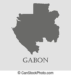Black Gabon map - vector illustration - Black Gabon map on...