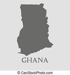 Black Ghana map - vector illustration - Black Ghana map on...