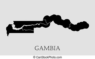 Black Gambia map - vector illustration - Black Gambia map on...