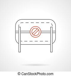 Prohibition road barrier flat line vector icon - Road...