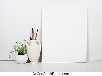 Empty blank canvas on a white background, home interior decor