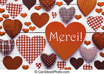 Brown Heart Texture With Merci Means Thank You - Brown Heart...