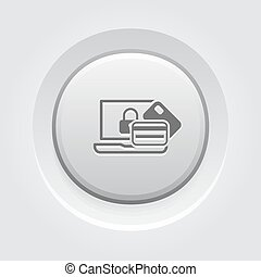 Secure Transaction Icon Flat Design Business Concept Grey...