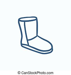 Fuzzy winter boot sketch icon - Fuzzy winter boot vector...