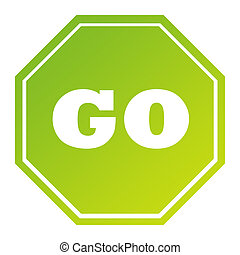 Hexagonal green go sign in gradient green, isolated on white...