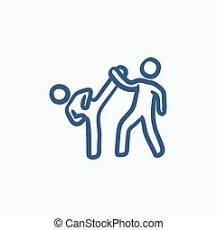 Karate fighters sketch icon - Karate fighters vector sketch...