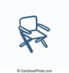 Folding chair sketch icon - Folding chair vector sketch icon...