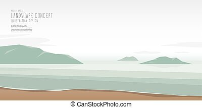 The seascape is calm, relaxed and beautiful atmosphere vector, Landscape Concept.