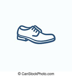 Shoe with shoelaces sketch icon - Shoe with shoelaces vector...