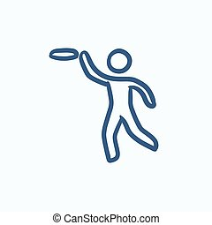 Man with flying disc sketch icon - Man with flying disc...