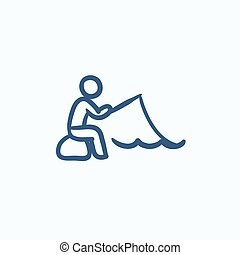 Fisherman sitting with rod sketch icon.