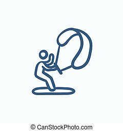 Kite surfing sketch icon. - Kite surfing vector sketch icon...