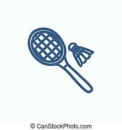Shuttlecock and badminton racket sketch icon - Shuttlecock...