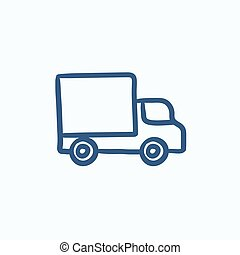 Delivery van sketch icon - Delivery van vector sketch icon...