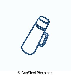 Thermos sketch icon. - Thermos vector sketch icon isolated...