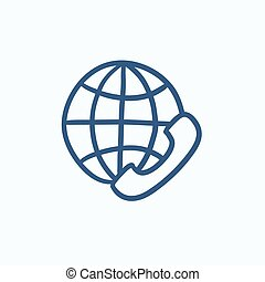 Global communications sketch icon - Global communications...