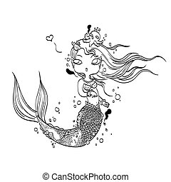 Lovely Mermaid for Coloring