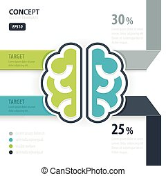 Human brain concept green blue gray color