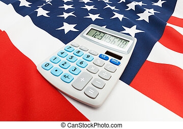 National flag with calculator over it - United States - Part...