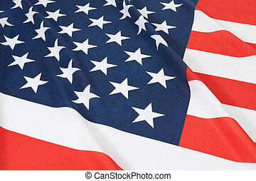Studio shot of ruffled national flag - United States -...