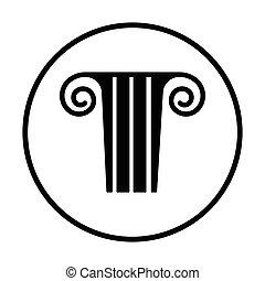 Antique column icon. Thin circle design. Vector...