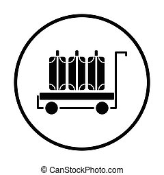 Luggage cart icon. Thin circle design. Vector illustration.