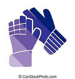 Soccer goalkeeper gloves icon Flat color design Vector...