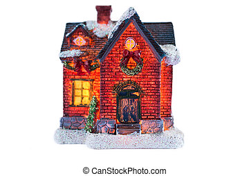House decorated with lights for Christmas isolated on white...