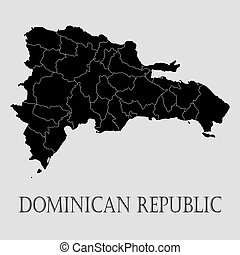 Black Dominican republic map - vector illustration - Black...
