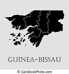 Black Guinea - Bissau map - vector illustration - Black...