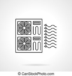 Industrial air conditioning flat line vector icon -...