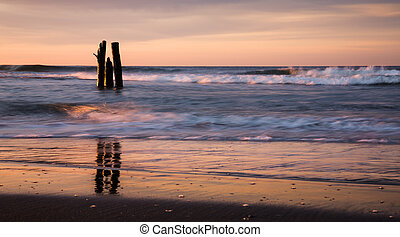 Sunrise early morning on the oceanfront. Atlantic Ocean...