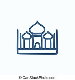 Mosque sketch icon - Mosque vector sketch icon isolated on...