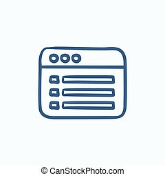 Browser window with folder contents sketch icon - Browser...