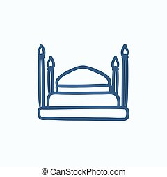 Taj Mahal sketch icon - Taj Mahal vector sketch icon...