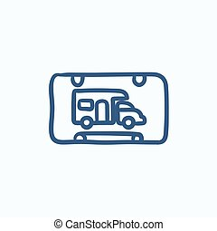 RV camping sign sketch icon - RV camping sign vector sketch...